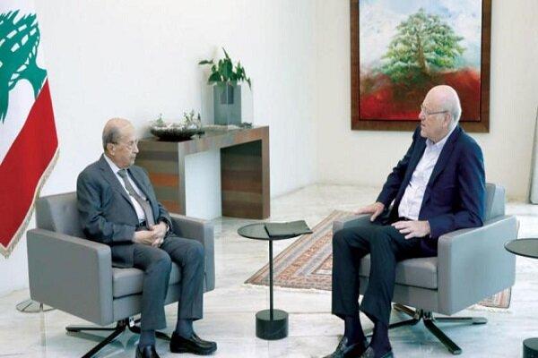 مرحله مهم روند تشکیل دولت لبنان با دیدار عون و میقاتی