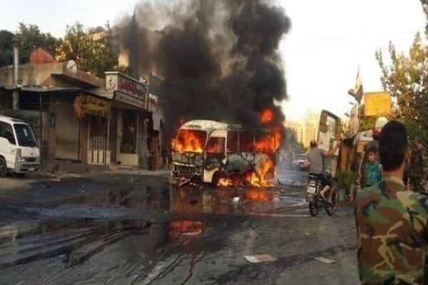 وقوع انفجار در اتوبوس حامل نظامیان سوری در غرب «دمشق»